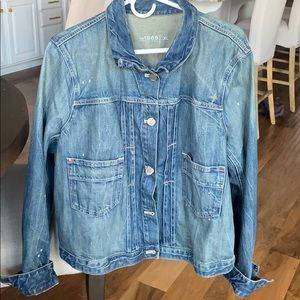 Gap distressed jean jacket with suede elbow patch